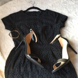 Madewell dress black laser cut out